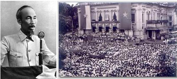 1945년 9월 2일오후2시 바딩광장에서 독립을 선언하는 호찌민 8월혁명- 대극장(Nhà hát Lớn) 광장에서 집회에 참석한 군중들이 진군가를 부르는 모습